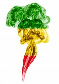 image of reggae  - Smoke pillar colored in flag of reggae music - JPG