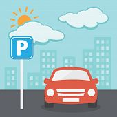 pic of traffic sign  - Parking Illustration with car and parking traffic sign - JPG