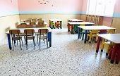 Large Refectory Of Kindergarten With Small Tables And Chairs