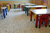 stock photo of canteen  - large dining room of the nursery canteen without children - JPG