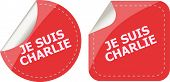 stock photo of extremist  - Je Suis Charlie text on web icon movement against terrorism - JPG