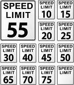 picture of mph  - vector illustration of speed limit signs set - JPG