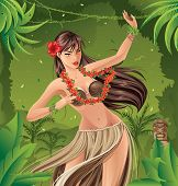 picture of hula dancer  - Hula dancer dancing in front of an exotic background - JPG