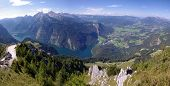 pic of bavarian alps  - View of Konigsee lake from Jenner in Bavarian Alps - JPG