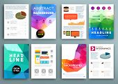 Set of Flyer, Brochure Design Templates. Geometric Triangular Abstract Modern Backgrounds. Mobile Technologies, Applications and Online Services Infographic Concept. Typographic Emblems, Logo, Banners