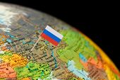picture of flag pole  -   Map with miniature Flag of Russia - JPG