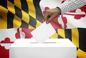 Voting Concept - Ballot Box With Us State Flag On Background - Maryland