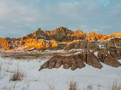 Ridge In The Badlands In Winter