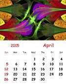 2015 Calendar. April.fractal Pattern In Stained Glass Style.