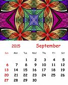 2015 Calendar. September.fractal Pattern In Stained Glass Style.