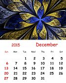 2015 Calendar. December.fractal Pattern In Stained Glass Style.