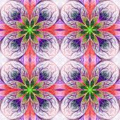 Pattern From Fractal Flowes In Pink, Green And Darkblue. Computer Generated Graphics.