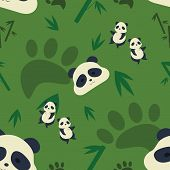 stock photo of panda  - cute pandas pattern on the green background - JPG