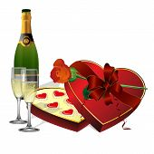 With Holiday Sweets, Champagne And Flowers Roses