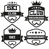Set of Vintage SKI and Snowboard Club Badge Label