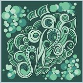 Vector pattern with abstract doodle  floral and waves