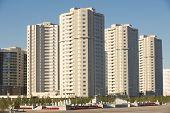 New residential area buildings in Astana, Kazakhstan.