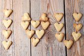 I Love You Text Making With Heart Cookies For Valentine's Day