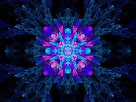 stock photo of higgs boson  - Blue pink multicolored stained glass fractal computer generated abstract background - JPG