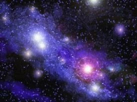 stock photo of outer  - A digital painting of a nebula in outer space - JPG