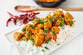 picture of curry chicken  - Curried Coconut Chicken with red hot chili pepper and rice - JPG