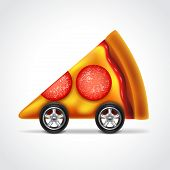 foto of meals wheels  - Pizza delivery concept photo realistic vector illustration - JPG