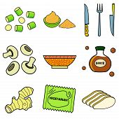 stock photo of celery  - Nine images of different foods  - JPG