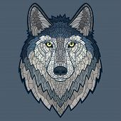 picture of wolf-dog  - Wolf head mascot mosaic isolated - JPG