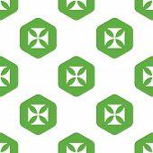 stock photo of maltese  - Vector maltese cross in hexagon - JPG