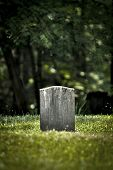 picture of tombstone  - Vertical shot of an old tombstone in a graveyard - JPG
