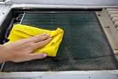 image of air conditioner  - Cleaning and washing of dirty retro air conditioner - JPG