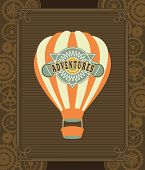 pic of mechanical drawing  - Hot Air Balloon Steampunk on the poster with the mechanical elements and gear - JPG