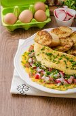 foto of french toast  - Omelette with spring vegetables and bacon fresh peas and radish garlic french toast sprinkled with chive and microgreens - JPG