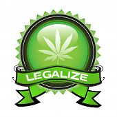 picture of hallucinogens  - Isolated green badge with marijuana symbol and the text legalize written on the badge - JPG