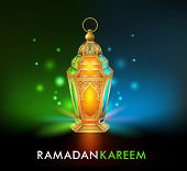 stock photo of occasion  - Realistic 3D Dimensional Elegant Ramadan Kareem Lantern or Fanous With Colorful Lights in Night Background for the Holy Month Occasion of fasting - JPG