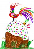 picture of rooster  - rooster and rabbit on Easter cake - JPG
