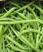 picture of french culture  - Fresh green French beans in a box at the greengrocer on the market place - JPG