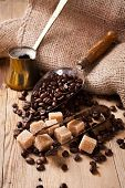 image of sugar cube  - The ingredients and utensils for making coffee - JPG