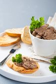 foto of liver  - Chicken liver pate on bread and in bawl - JPG