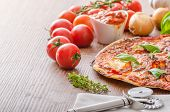 foto of hot fresh pizza  - Cheese pizza with fresh tomato and chilli basil hot spicy sause - JPG
