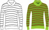 image of v-neck collar  - Two long sleeve striped sweaters - JPG