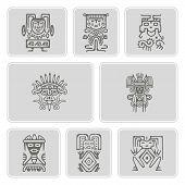 Постер, плакат: set of monochrome icons with American Indians relics dingbats characters part 3