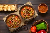 stock photo of dark side  - Vegan goulash made of soy meat  - JPG