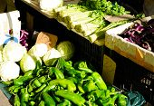 stock photo of celery  - Fresh vegetables celery eggplant cabbage and green peppers in Shanghai China - JPG