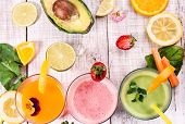 pic of fruit-juice  - healthy delicious smoothie and juice with fresh fruits and vegetables - JPG