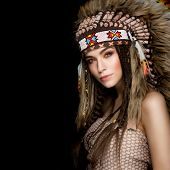 picture of indian beautiful people  - Beautiful ethnic lady with roach on her head - JPG
