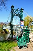 image of suspension  - Porthill Suspension Bridge across the River Severn Shrewsbury Shropshire England UK Western Europe - JPG