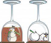 Snowman in wine glass snowglobe