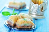 pic of dessert plate  - Baklava Turkish dessert on metal plate and on a table - JPG