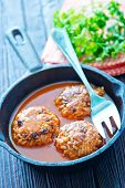pic of meatball  - Fried meatballs with tomato sauce and spices in frying pan - JPG